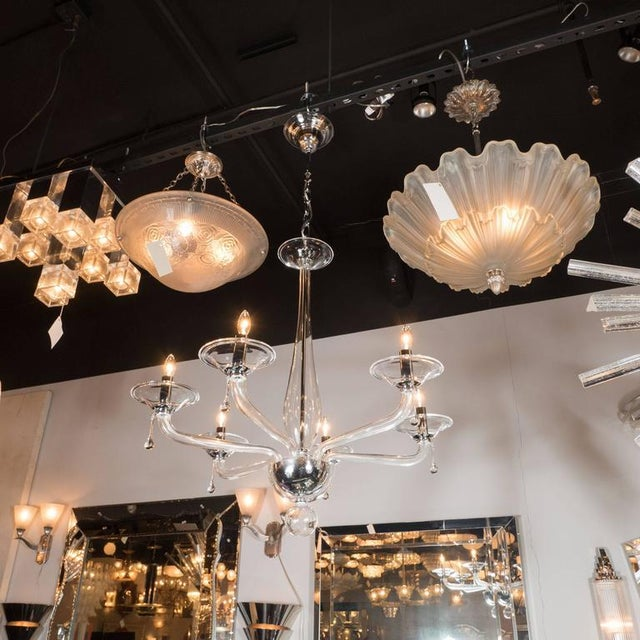 Mid-Century Handblown Six-Arm Murano Chandelier in Clear Glass - Image 10 of 11
