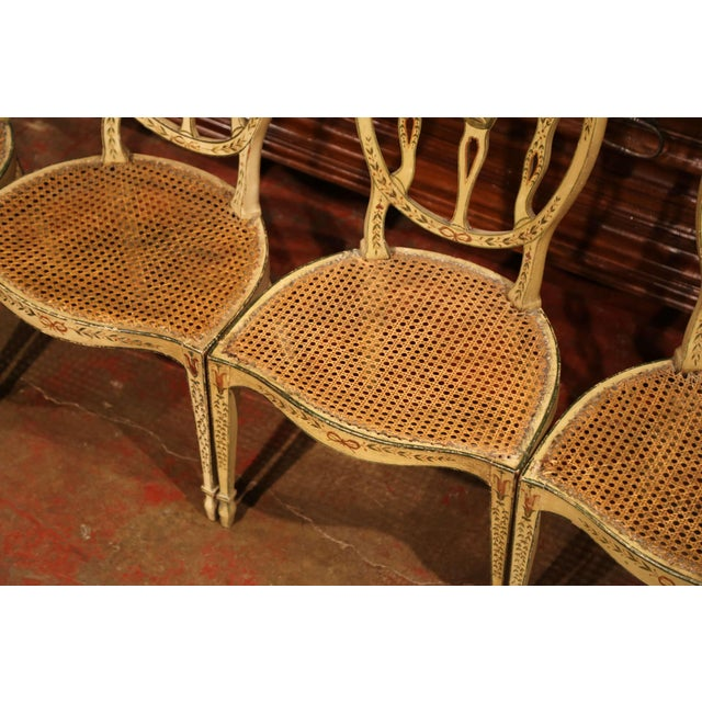 Wood Mid-19th Century Vintage Hepplewhite Style Painted Chairs- Set of 4 For Sale - Image 7 of 13