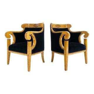 Biedermeier Marquetry Armchairs in Rose Uniacke Velvet - A Pair For Sale