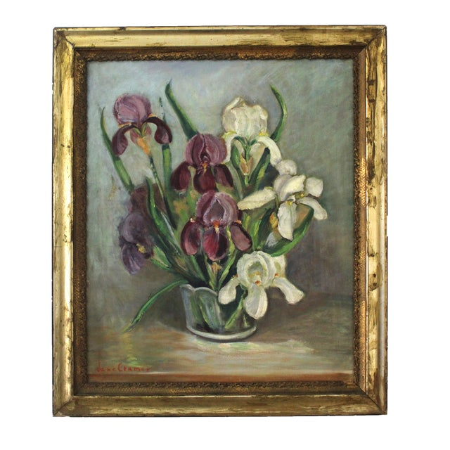 Mid-Century Iris Oil Painting by Jane Cramer For Sale
