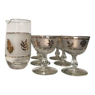 Mid-Century Modern Libbey Goldleaf Wine Glasses and Pitcher - Set of 7