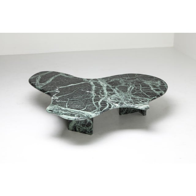 1970s Postmodern Green Marble Coffee Table in the Manner of Noguchi For Sale - Image 5 of 12