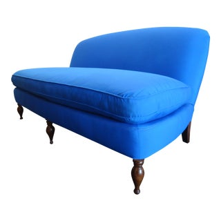 Lee Industies Contemporary English Style Blue Armless Sofa For Sale