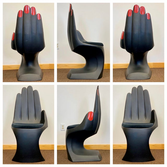 1990s Vintage European Touch Black Hand Chairs - Set of 6 For Sale - Image 12 of 12
