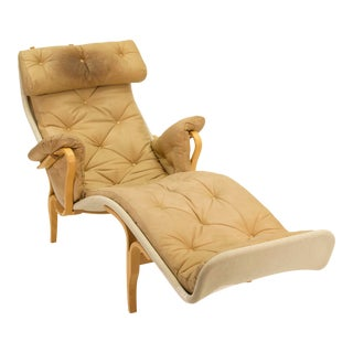 1970s Swedish Modern Bruno Mathsson Pernilla Chaise Lounge Chair For Sale