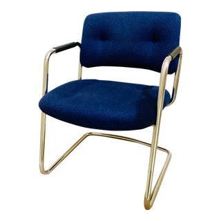 1980s Vintage Steelcase Chrome and Blue Tweed Cantilever Chair For Sale