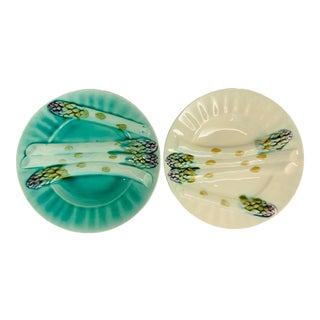 19th Century Antique French Majolica Pottery Asparagus Plates by Luneville - A Pair For Sale