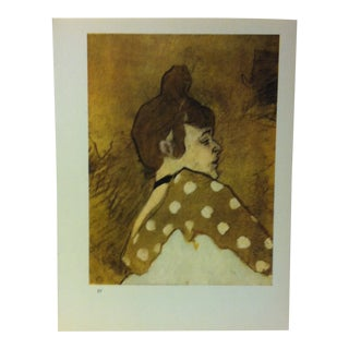 "Circa 1980 ""Head of La Goulue 1891"" Color Print of a Toulouse-Lautrec Drawing For Sale"