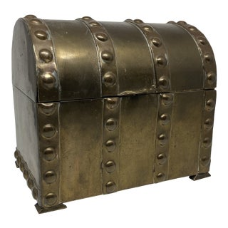 Vintage Mottahedeh Brass Trunk Hinged Box For Sale