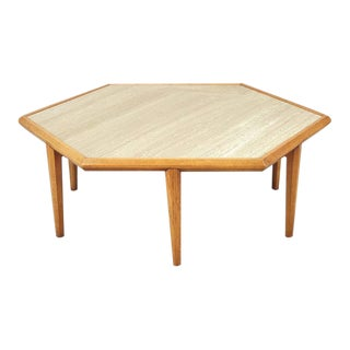 Travertine and Walnut Table Attributed to Harvey Probber For Sale