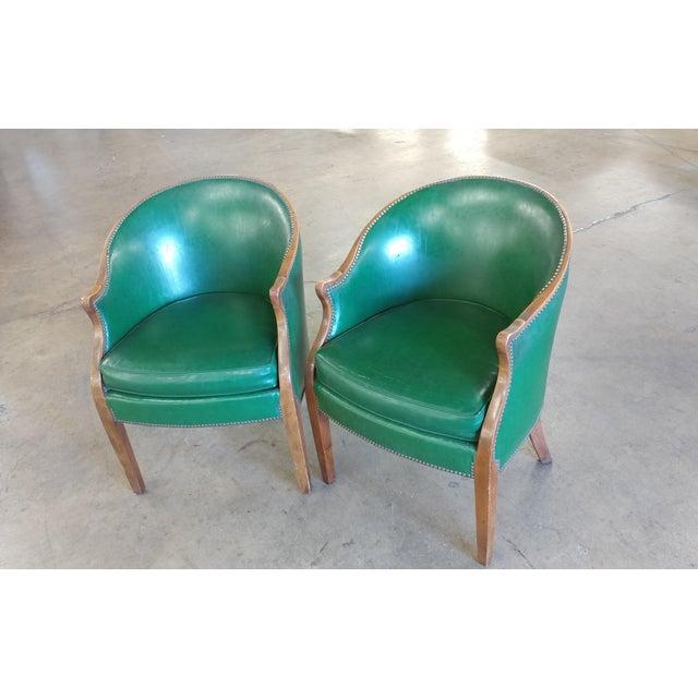 "Baker Furniture- Pair of vintage Library Chairs -Green leather size 23w x 21d x 33""h seat height 20"" A beautiful piece..."