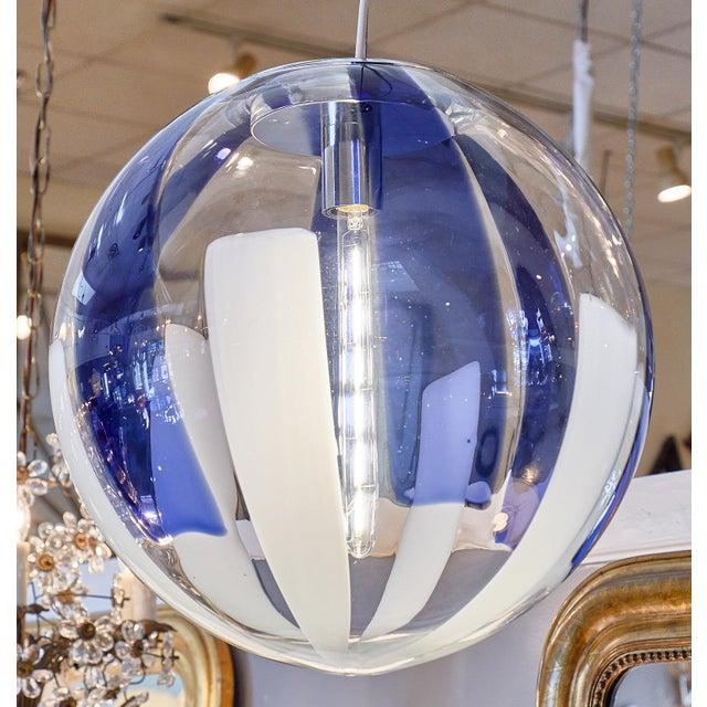 Mid-Century Modern Murano Glass Cobalt Sphere Chandelier For Sale - Image 3 of 10