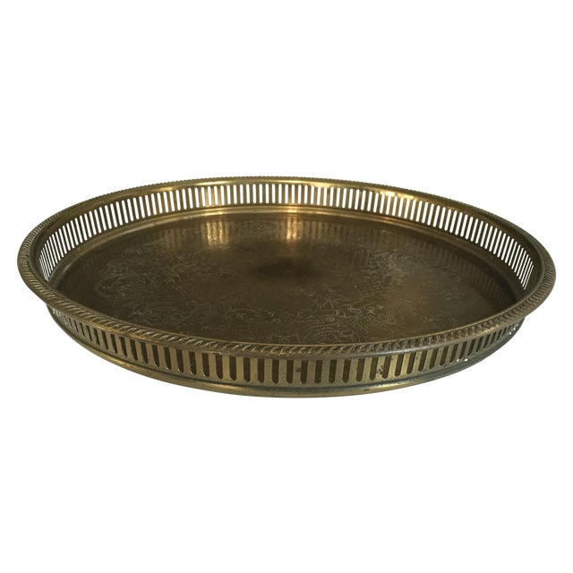 Vintage Round Brass Tray - Image 1 of 3