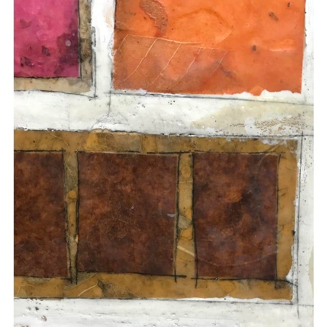 "Wood Gina Cochran ""Necessity of Play No. 6"" Encaustic Collage Painting For Sale - Image 7 of 9"