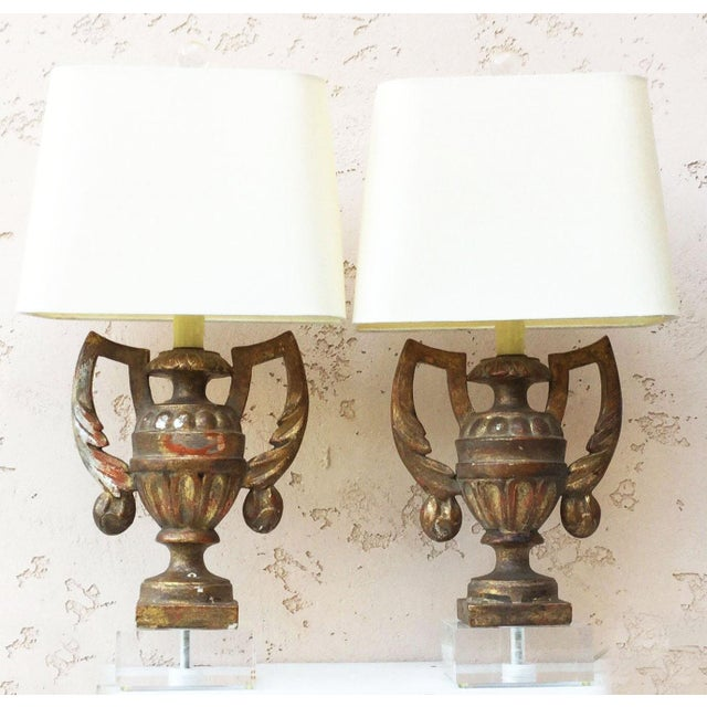 Gilded Wood Urns Shaped Lamps Circa 1890 - a Pair For Sale - Image 9 of 9