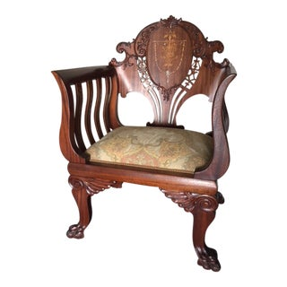 Antique 19th Century Mahogany Inlay Shield Back Accent Chair For Sale
