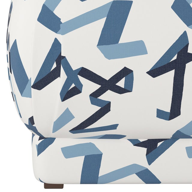Contemporary Ottoman in Navy Ribbon by Angela Chrusciaki Blehm for Chairish For Sale - Image 3 of 5