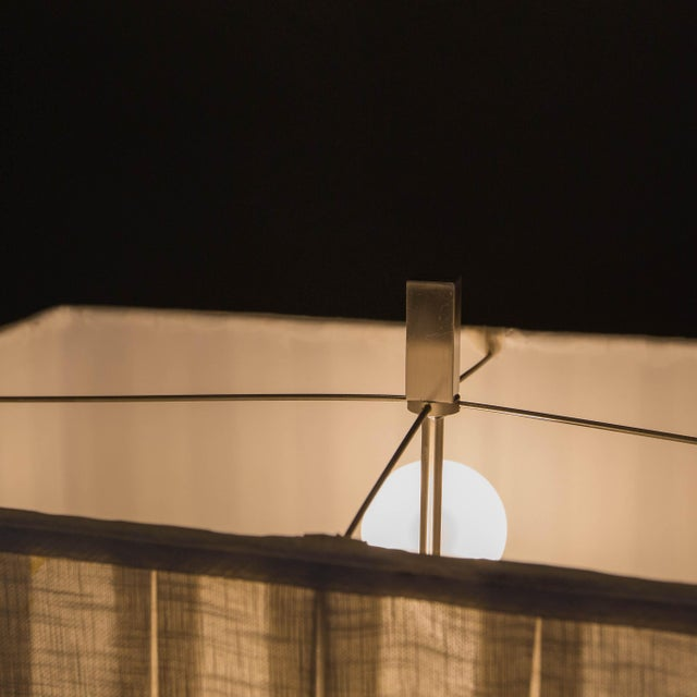 Walnut and Brushed Aluminum Floor Lamps - Pair - Image 2 of 6
