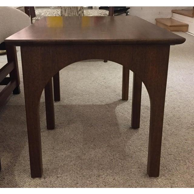 T.H. Robsjohn Gibbings Robsjohn Gibbings Walnut Coliseum Side Table For Sale - Image 4 of 11