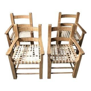 Southwest Style Wooden Club Dining Chairs - Set of 4