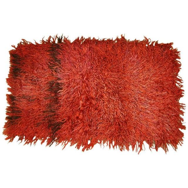 Textile Circa 1960 Vintage Turkish Angora Red Long Pile Tulu Rug For Sale - Image 7 of 7