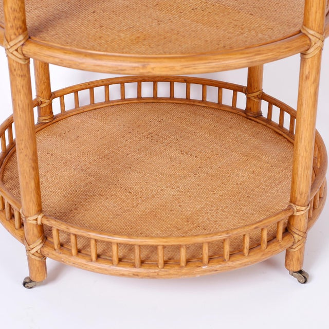 Wood Midcentury British Colonial Style Stands or Carts - A Pair For Sale - Image 7 of 10