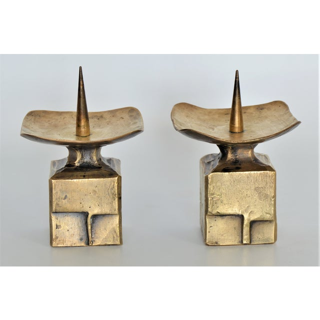Weiland Basel Switzerland Brutalist Brass Candle Holders - a Pair- Mid Century Scandinavian Modern Candlesticks Millennial - Image 3 of 11