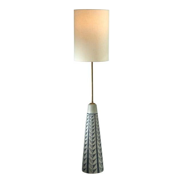 Rigmor Nielsen Floor Lamp With Blue Motif, Denmark, 1960s For Sale