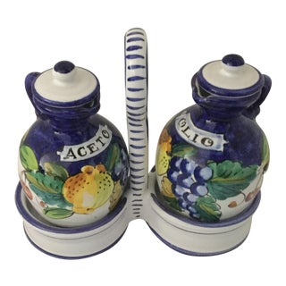 Italian Ceramic Oil & Vinegar Set - A Pair