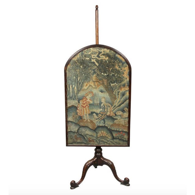 Blue George III Mahogany And Needlepoint Fire Screen For Sale - Image 8 of 8