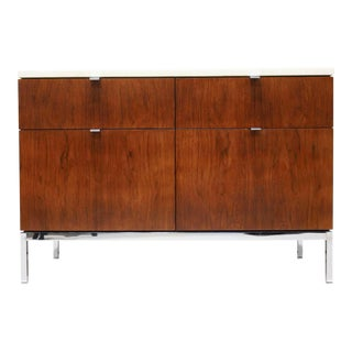 Florence Knoll Two Bay Rosewood Credenza With Calacatta Marble Top For Sale