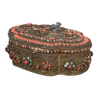 Mid-Century Multi-Gemstone Nepalese Trinket Box C.1960 For Sale
