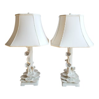 Mid Century Italian Ceramic Faux Bamboo & Lotus Flower Table Lamps-A Pair For Sale