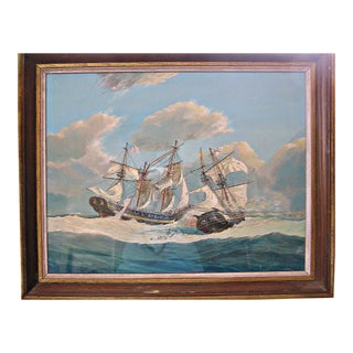 1960s Vintage Maritime Wasp vs. Frolic Naval Battle Painting by G. F. Campbell For Sale
