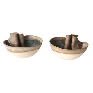Contemporary Glazed Folded Bowls - a Pair For Sale
