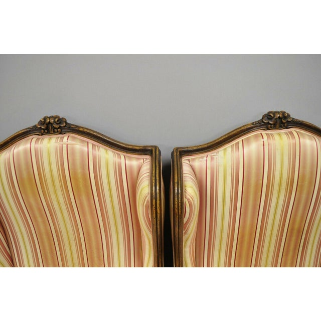 Mid 20th Century Vintage Mid Century French Louis XV Style Wingback Bergere Armchairs - A Pair For Sale - Image 5 of 12