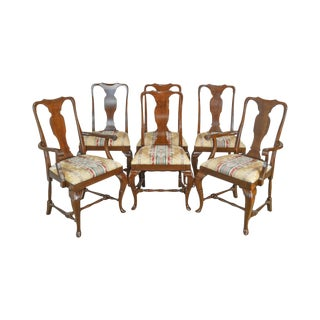 Queen Anne Style Quality Set of 6 Cherry Dining Chairs For Sale