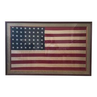 Vintage 48 Star Us Flag, Professionally Matted & Framed For Sale