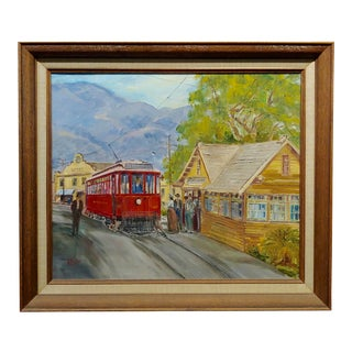 Wilfrid T. Mills-Los Angels Trolley Car at Sierra Madre Station -Oil Painting For Sale