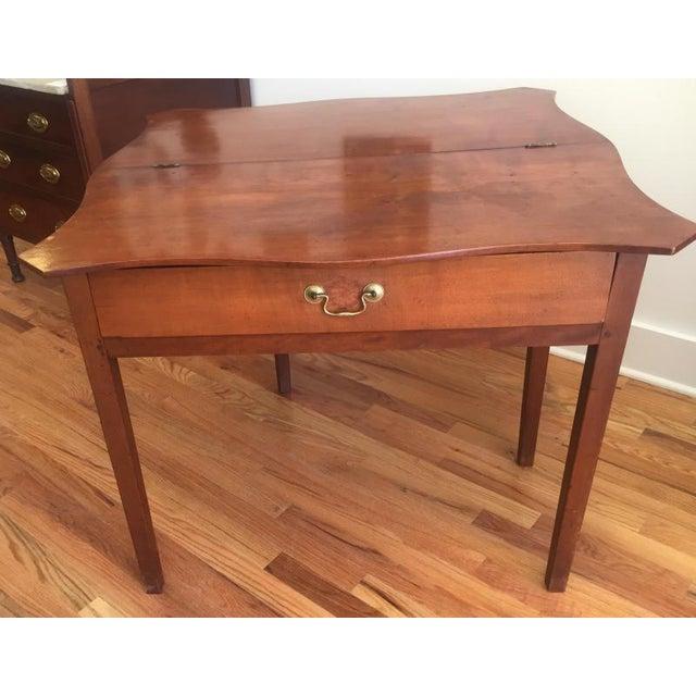 Hepplewhite 19th Century Hepplewhite Cherrywood Serpentine Game Table For Sale - Image 3 of 6