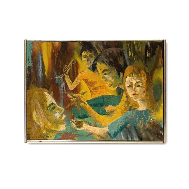 """""""Meditation"""" Oil Painting by Charlotte Ross Circa 1960 For Sale In Los Angeles - Image 6 of 6"""