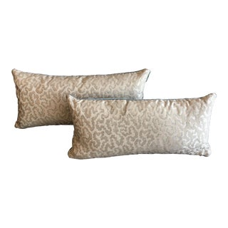Contemporary Scalamandre Oyster Silk Lumbar Pillows Backed in Silvery Blue Velvet- a Pair