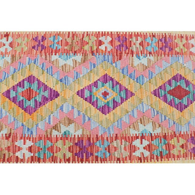 "Afghani Kilim Flatweave Wool Runner Rug Size 1'9""x6'3"" - Image 3 of 4"