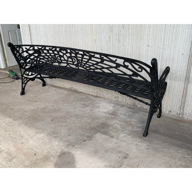 New Large Black Cast Aluminum Garden or Park Bench For Sale - Image 12 of 13