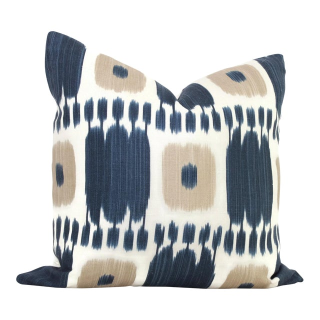 Schumacher Kandira Blue Tan Ikat Pillow Cover For Sale