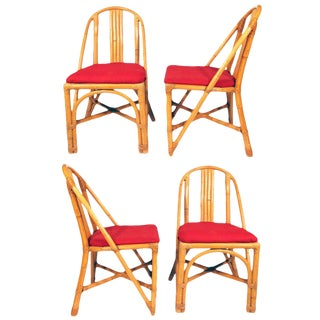 Restored Slat Leg Rattan Dining Chair, Set of Four For Sale