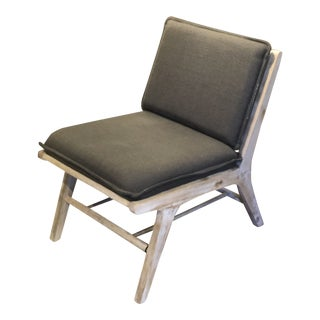 Mid-Century Modern Inspired Pine Wood Lounge Chair With Dark Grey Cushions For Sale