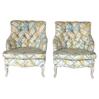 Upholstered Accent Chairs, Pair