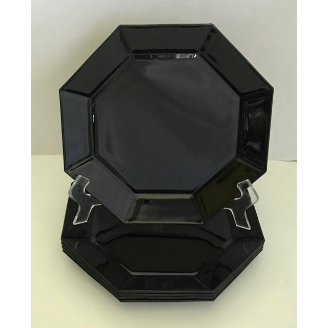 Vintage Arcoroc French Black Octagonal Plates - Set of 5 For Sale In Los Angeles - Image 6 of 6