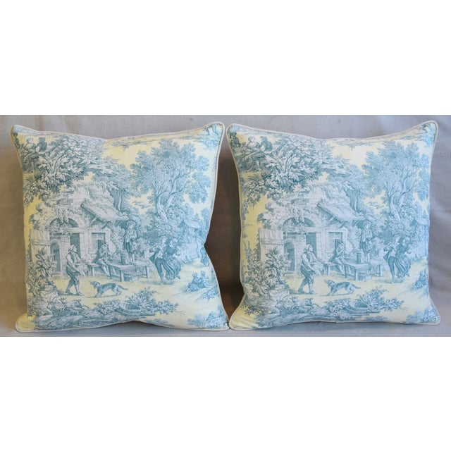 Pair of large custom-tailored pillows in unused french country printed cotton fabric depicting a beautiful french...